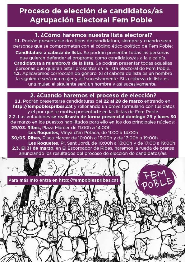 S'obre el procés de primàries per la llista electoral de Fem Poble!